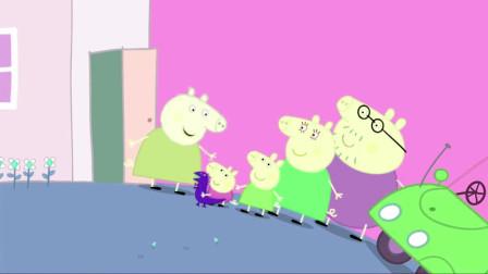 佩奇和乔治帮猪奶奶洗干净了蔬菜,猪奶奶用来做蔬菜色拉和披萨