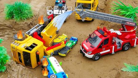 工程车着火出事故,抢险救援队帮助救火