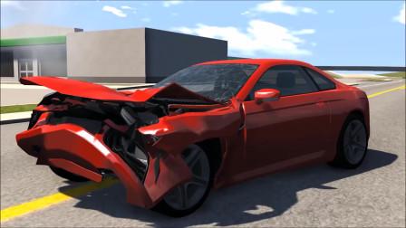 车祸模拟:卡车对汽车,侧面碰撞碰撞