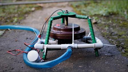 老外改装老式吊扇,成品靠水发电还能浇地,太厉害!