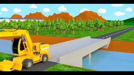 铲车和吊车搅拌车修补大桥
