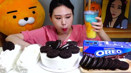 韩国大胃王卡妹的奶酪蛋糕、奥利略奶油蛋糕的吃播,不腻吗