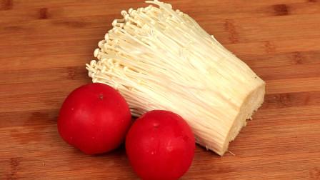 西红柿金针菇这样做,我家一周吃6次,营养过瘾,上桌瞬间就抢光