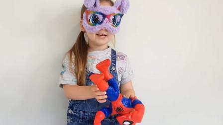 真棒!萌宝小萝莉戴着眼罩在玩什么游戏?睡衣侠小英雄汪汪队趣味玩具故事