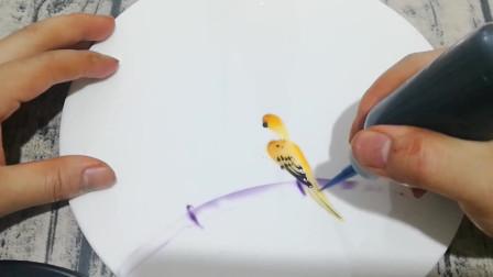 今天我来教大家用果酱画画,画个竹林小鸟,既简单又好看