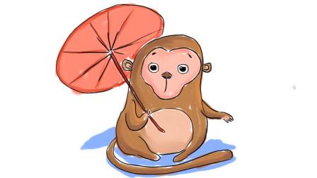 小范亲子简笔画 教大家画一只在雪地里打伞的猴子卡通简笔画