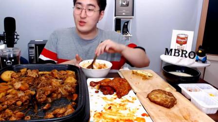 《韩国夜宵美食》鸡块土豆炖粉条,放入大量的辣酱,小哥哥吃的眉开眼笑