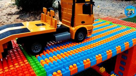 工程车修桥栽树,大卡车自卸车挖掘机装载车推土车越野车洒水车,儿童玩具亲子互动