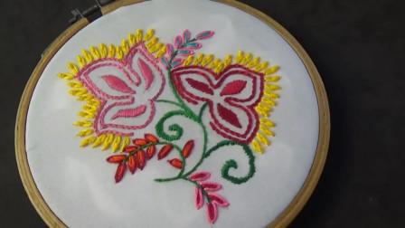 手工绣花小妙招,艳丽花朵的刺绣方法,简单又漂亮!