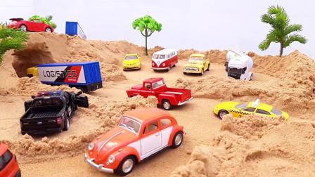 一个孩子的玩具吗卡车和拖车的拖拉机运输车摩托车的视频