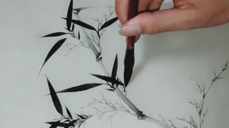 绘画艺术,画竹子,这样画,好像很简单的样子