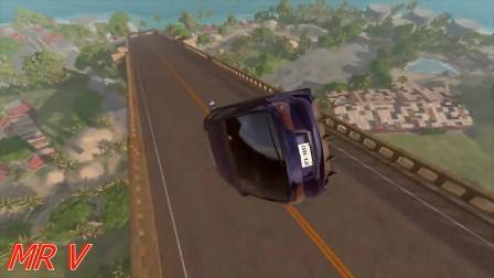 Beamng drive模拟:汽车用生日蛋糕跳开桥