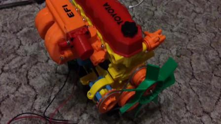 3D打印的丰田发动机模型,结构逼真,真的能转!
