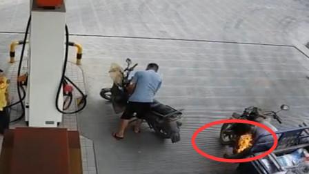 惊险20秒!三轮摩托车加油站起火工作人员冷静处置