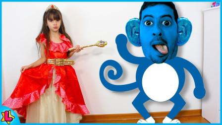 太神奇了萌寶小蘿莉咋變出了一個藍猴子這是咋回事呢