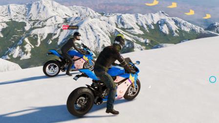 飙酷车神2:两部杜卡迪冲下雪山,中途一部半路坠毁