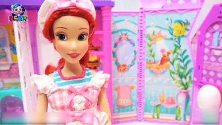 芭比的故事 芭比公主换工作服拼装冷饮餐车 流动冰淇淋店开业了