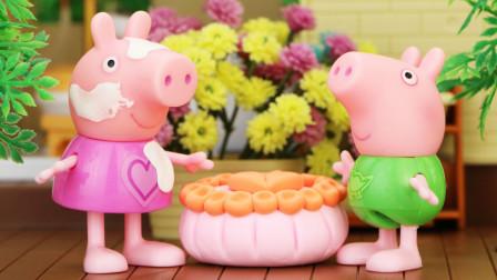 小猪佩奇和乔治在准备送给兔小姐的生日礼物