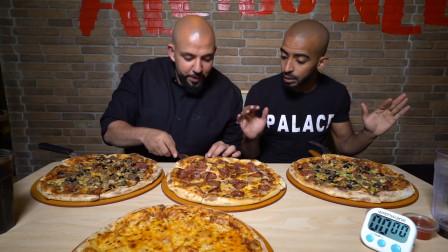 胡子大叔和小弟吃播挑战,4个超级大披萨,结局让我很意外!
