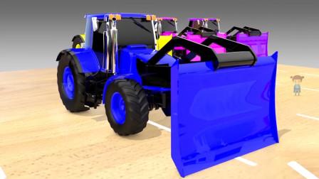 蓝色推土机即将将白色卡车推入染色池中
