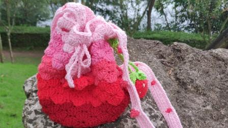 【芸妈手作A119】草莓编织包钩针牛奶棉毛线手工diy编织新手教学视频上集手工编织网