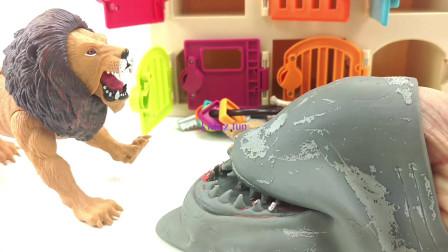 有趣的鲨鱼从笼子里拯救动物园野生动物和学习动物的名字孩子有趣的学习