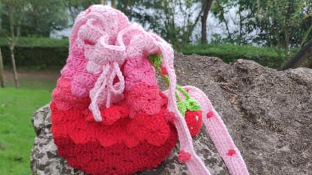 【芸妈手作120】草莓编织包钩针牛奶棉毛线手工diy编织新手教学视频上集毛线的织法视频全集
