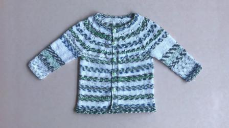 儿童圆肩开衫毛衣花样的棒针编织视频教程