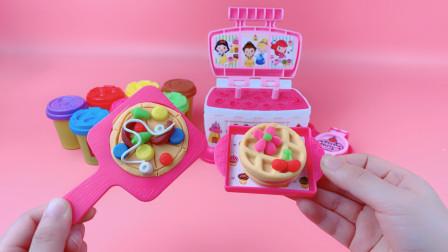 迪士尼彩泥玩具制作美味可口的夹心华夫饼和披萨