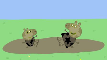 小猪佩奇:乔治跳泥坑时,脚陷入了坑里,兔小姐开消防车来救援