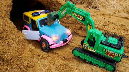 挖掘机挖沙救援警车,各种汽车零部件组装汽车玩具