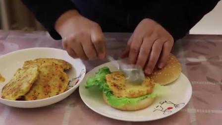 轩妈自制的鸡肉汉堡,小轩一次能吃3个