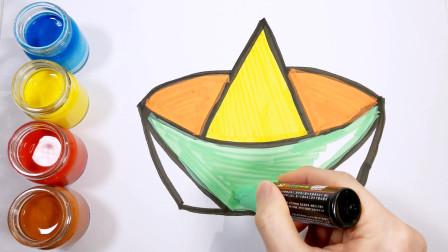 闪闪发光的纸船着色页绘画和着色为儿童幼儿
