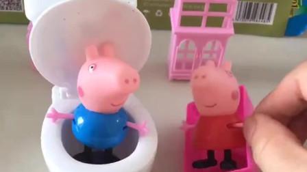 佩奇正在洗澡,乔治在旁边上厕所,结果把佩奇臭的熏走了!
