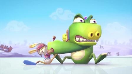食蛋兽和萝卜兔争夺雪球,两人搞怪的表演,真逗!