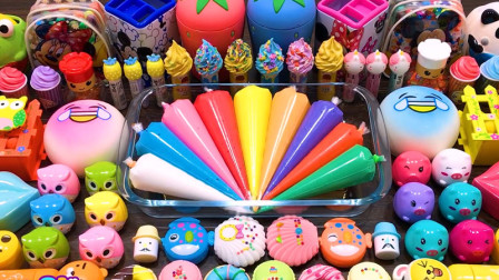 冰淇淋彩泥+小鱼饰品+草莓水晶泥+裱花袋泥,混合史莱姆教程