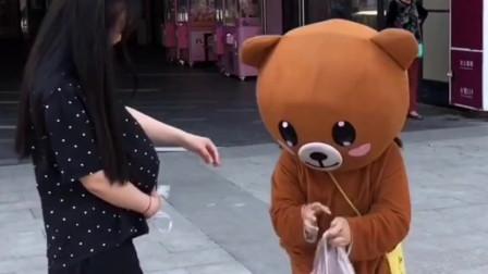 网红熊不仅会发传单,而且充满了爱心