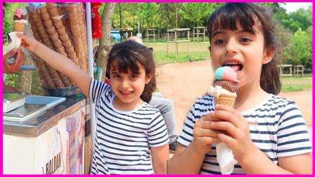 超级美味!萌宝小萝莉去买冰淇淋吃咯!你知道是什么口味的吗?