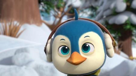 冬天来了小鸡们一起开心的滑雪,途中遇到一只呆呆的小企鹅