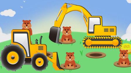 趣味打地鼠 认识挖掘机等7种交通工具