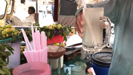 巴基斯坦街头,柠檬果汁,新鲜解渴