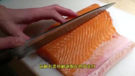 日本厨师处理挪威三文鱼,鱼肉腌制做寿司