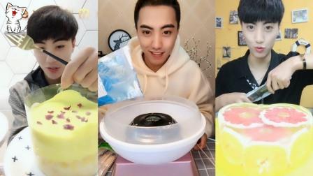 吃播小哥哥:吃奶油布丁,网红蛋糕,自制果冻,看着好好玩啊!
