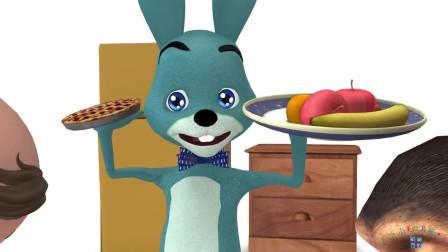 亲子益智故事,兔子餐厅有美味的披萨、薯条、冰淇淋等!