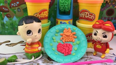 快乐宝贝大头儿子玩具 培乐多彩泥玩具,大头儿子与猪猪侠制作昆虫饼干