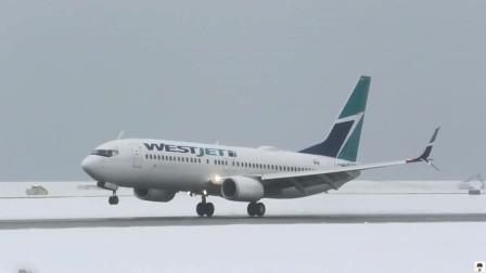 波音737客机大雪后降落多伦多机场,航空爱好者拍摄