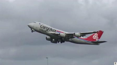 波音747货机阿姆斯特丹机场起飞,航空爱好者拍摄