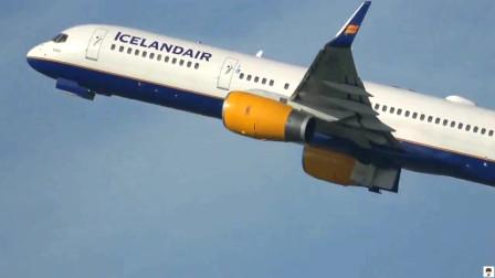 波音757客机曼彻斯特机场起飞,航空爱好者拍摄