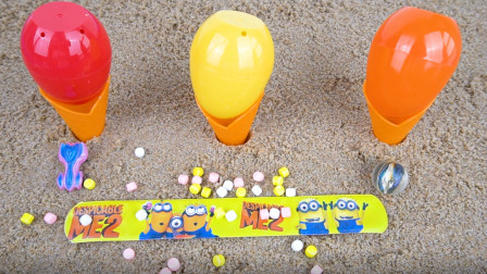 趣味玩沙子 用沙子做出冰淇淋 并拆开奇趣蛋