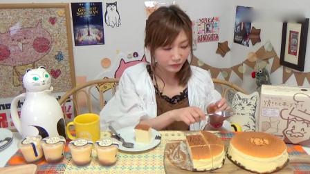 小姐姐试吃美味的起司蛋糕和浓稠布丁,布丁的口感实在是无法形容